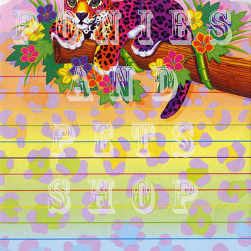 Vintage Lisa Frank Stationery Die Cut Hunter the Leopard sheet