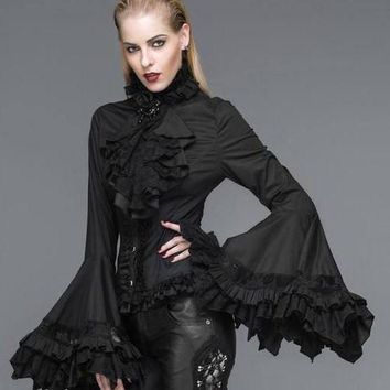 Gothic Victorian Palace Trumpet Sleeve Blouse Black
