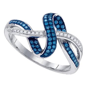 10kt White Gold Womens Round Blue Color Enhanced Diamond Band Ring 1/4 Cttw
