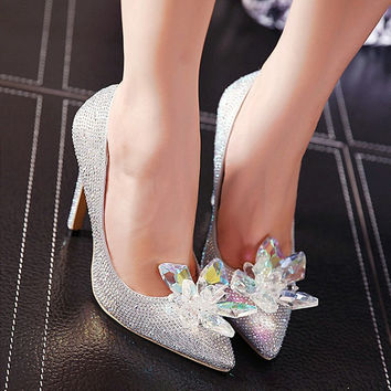 Size 4~9 Cinderella Wedding High Heels Women Pumps Bridal Crystal Shoes Women Shoes zapatos mujer (Chenk Foot Length)