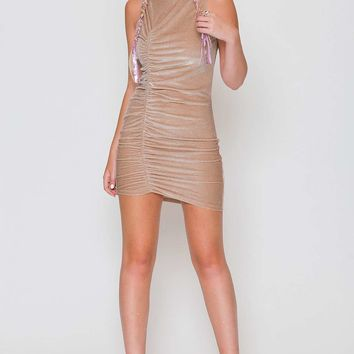 **Tan Velvet Ruched Mini Dress by Jaded London - New In This Week - New In