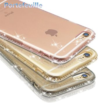 Portefeuille For iPhone X Case Luxury Bling Glitter Rhinestone TPU Soft Silicone Cases Cover For Apple iPhone 7 Plus 8 6 6S 5 5S