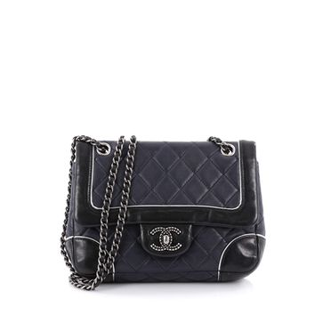 Chanel Pre-Owned: Engraved Cc Contrast Trim Flap Bag Quilted Lambskin Small | Bluefly.Com