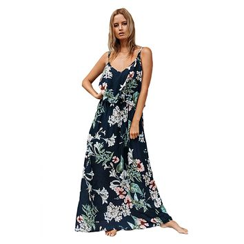 Navy Chic Summer Boho Floral Maxi Dress