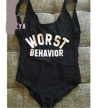Worst Behavior - Women's Casual Backless One-Piece Swimsuit