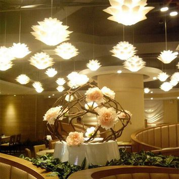 Decoration Lights LED Mood Lights DIY Lotus Suspension Ceiling Light Pendant Lamp Chrismas Xmas Fixture Chandelier
