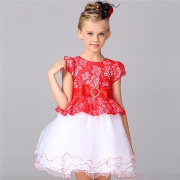 2-8 Years Baby Girl Party Dress Flower Girls Lace Cotton Floral Wedding Birthday Princess Dresses Kids Children Costume Clothes