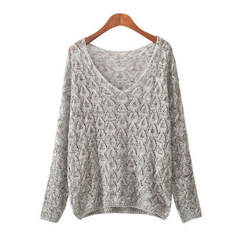 Hollow Out Knit Tops Batwing Sleeve Pullover Ladies Summer Bottoming Shirt [8422523521]