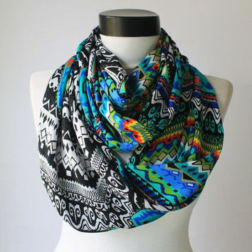 zig zag satin scarf,infinity scarf, scarf, scarves, long scarf, loop scarf, gift
