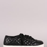 Breckelle Quilted Lace Up Flatform Sneaker