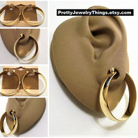 14 KT Gold Filled Hoop Pierced Post Earrings Vintage Polished Wide Band Large Round Open Ring Dangles Pincatch Clasp
