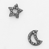 Crescent Moon & Star Pave Rhinestone Hematite Earrings