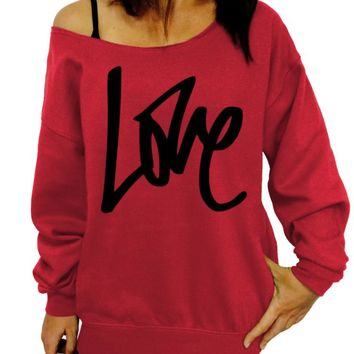 Graffiti Love, Valentine's Day, Love Sweater, Gift for her, Birthday Gift, Off the Shoulder, Oversized, Slouchy Sweatshirt, Women's Clothing