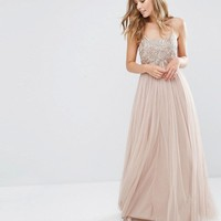 Maya Cami Strap Maxi Dress with Tulle Skirt and Embellishment at asos.com