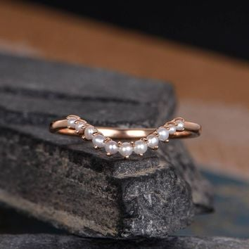Curved Wedding Band Women Pearl Wedding Band V Shaped Chevron Stack Ring