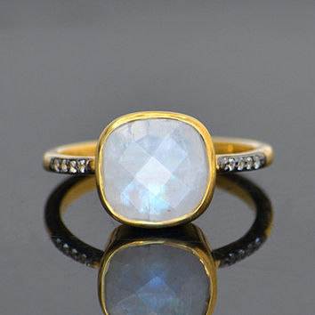Faceted Natural Moonstone Vermeil Gold White Topaz Pave cushion square shape stacking bezel set ring