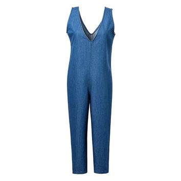 Women's Fashion Summer Cropped Pants V-neck Vest Denim Jumpsuit [4920277124]