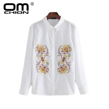 Vintage Floral Embroidery Blouse White Women Shirt Loose Long Sleeve Fashion Blouse