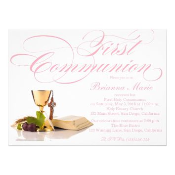 Modern Elegant Girls First Communion Invitation