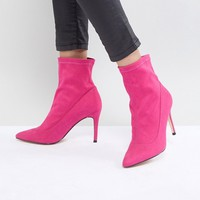 Faith Bow Hot Pink Suede Sock Boots at asos.com