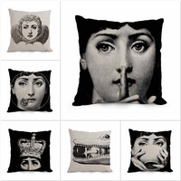 2016 Fornasetti cushion Italian Art Vintage Beauty Face Skull Decorative Pillow Black and white Decorative Pillows