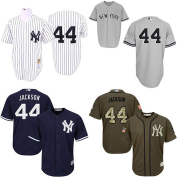 Blue green grey White Throwback Reggie Jackson Authentic Jersey , Men's #44 Mitchell And Ness New York Yankees