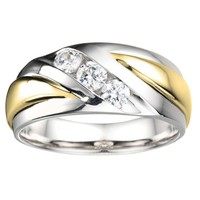 1/2ct tw Diamond Wedding Ring in 14K White & Yellow Gold - Men's Wedding Rings - Wedding Rings