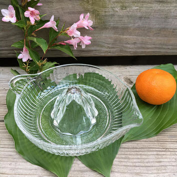 Orange Squeezer Juicer Vintage Clear Pressed Glass Citrus Juice Reamer Cooking Utensil Retro Kitchen Houseware Lime Lemon Food Prep Baking