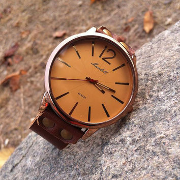 Vintage Handmade Cowhide Leather Generous Men Watch