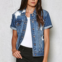 PacSun Norma Ripped Short Sleeve Denim Jacket at PacSun.com