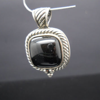 Onyx Pendant Sterling Silver Bali Style Jewelry Square Moon Stars 925