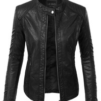 LE3NO Womens Faux Leather Quilted Zip Up Biker Moto Jacket with Pockets
