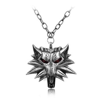Fashion Punk Wizard Witcher 3 Wolf Head Pendant Necklace For Men Jewelry Red Halloween Gift