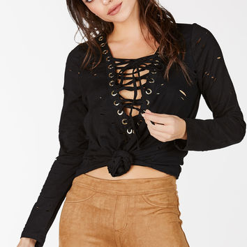 Eyes Wide Open Lace Up Top