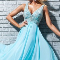 Beaded Chiffon Dress by Tony Bowls Le Gala
