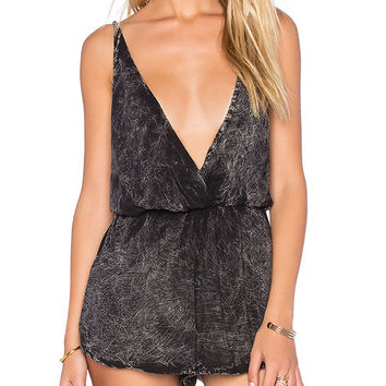 Black Gray V-neck Tie Dye  Straps Rompers
