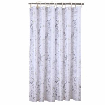 Silver Print Flower Fabric Shower Curtain Liner Super Thicken Mildew Resistant for Bathroom Washable Anti Rust Grommets Weighted