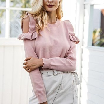 Open Ruffle Shoulder Sweater