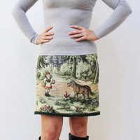 Fairy tale Skirt Vintage Little Red Riding Hood and the Wolf Gobelin Fabric Tapestry Clothing  size 8 EU size 38