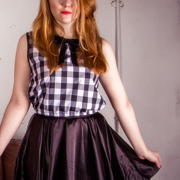 Gingham Crop Top, Checked Peter Pan Top, Top with Velvet Collar, Sixties Style Top, Retro Style Crop Top, Monochrome Crop Top Sizes:XS/S/M/L