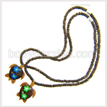 Coco Turtle Necklace with Flowers Green or Blue  Cord 18 in. Make a Great Gift,