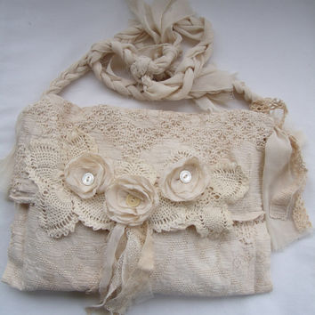Tattered Victorian Bag French Bridal Crochet Doily purse Romantic Vintage style Creams tea stained Upcycled Vintage finds