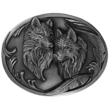 Sports Accessories - Wolves Antiqued Belt Buckle