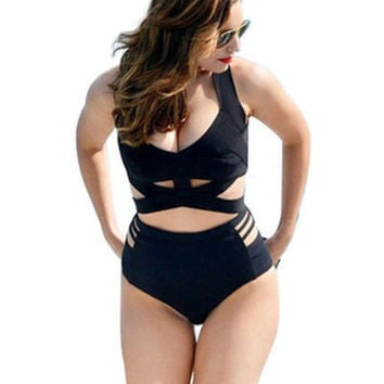 Fashion 2017 Trending Fashion Extra Plus Size Black Women Two-Piece Sexy Swim Suit Beach Bathing Suits-Daniel0318