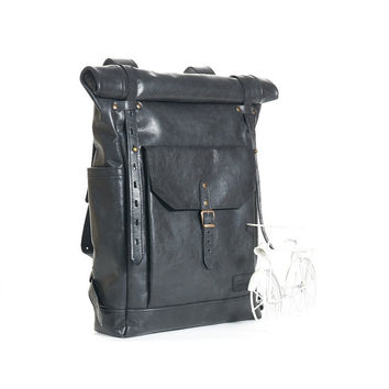 Fade black leather backpack. Leather backpack with top zipper closure. Hipster backpack. Leather bag. Leather rucksack.