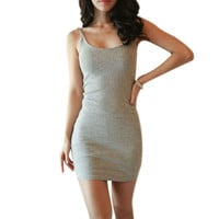 Fashion Sleeveless Slim Women Basic Dresses Sexy Backless Vestidos Vest Tanks Bodycon Dress Strap Solid Party Dress