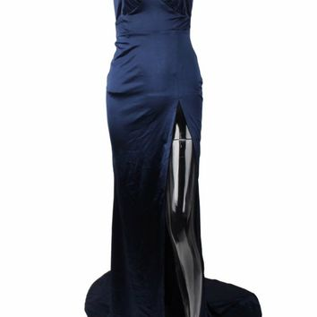 Honey Couture BIANCA Navy Blue Satin Style Mermaid Evening Gown Dress