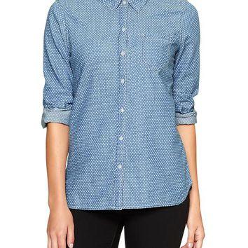 Gap Women Factory Heart Print Chambray Shirt