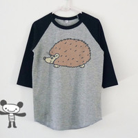 Hedgehog tshirt toddlers children raglan shirt kids **boy girl clothes