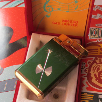 Vintage Lighter 1950s Royal MR 500 Gas Plays Anniversary Song Cigar 50s Tobacciana
